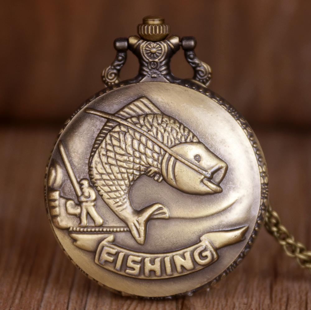 Retro Bronze Fish Pattern Pocket Watch Quart Chain Necklace Bronze Full Hunter For Men Women TD2033