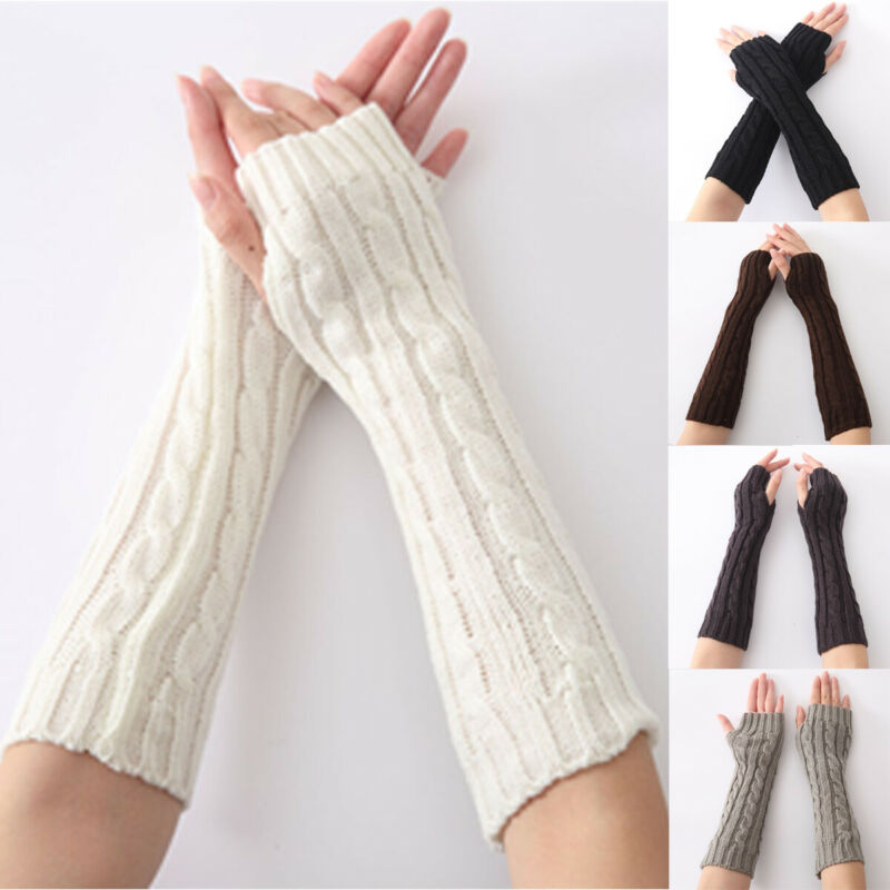 New Fashion Women Ladies Solid Long Arm Warmers Knitted Winter Warm Casual Gloves