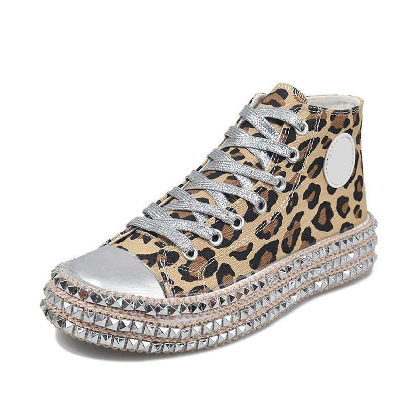 Frauen Herbst Turnschuhe Frau Leinwand Sexy Leopard Kreuz Lace Up Damen Nieten Mode Flache Komfort frauen Elegante Schuhe Heißer verkauf