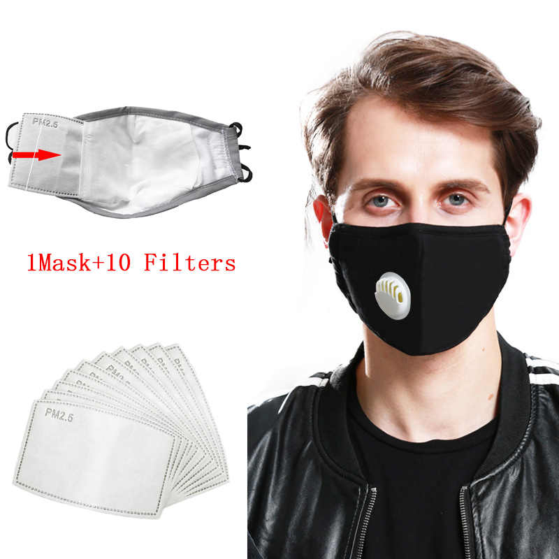 Cotton PM2.5 Black Mouth Mask Anti Dust Mask Activated Carbon Filter Windproof Washable Reusable Respirator