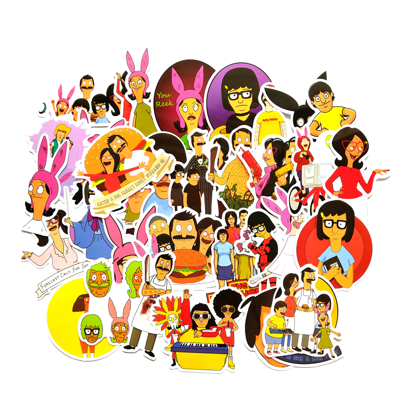 34 Pcs Bob's Burgers Cartoons Stickers Kids Toy Sticker For DIY Luggage Laptop Wall Car Phone Waterproof Sticker