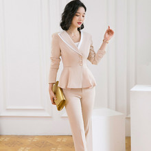 Two-piece Women Pants Suits Set For Work Elegant Long-sleeve