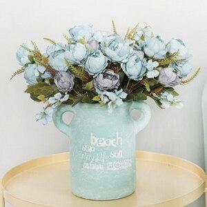 Image 2 - 5 ramo para cabeza de peonías artificiales, peonías pequeñas de seda blanca, flores falsas para fiesta de boda, hogar, flor rosa para decoración, arte rosa
