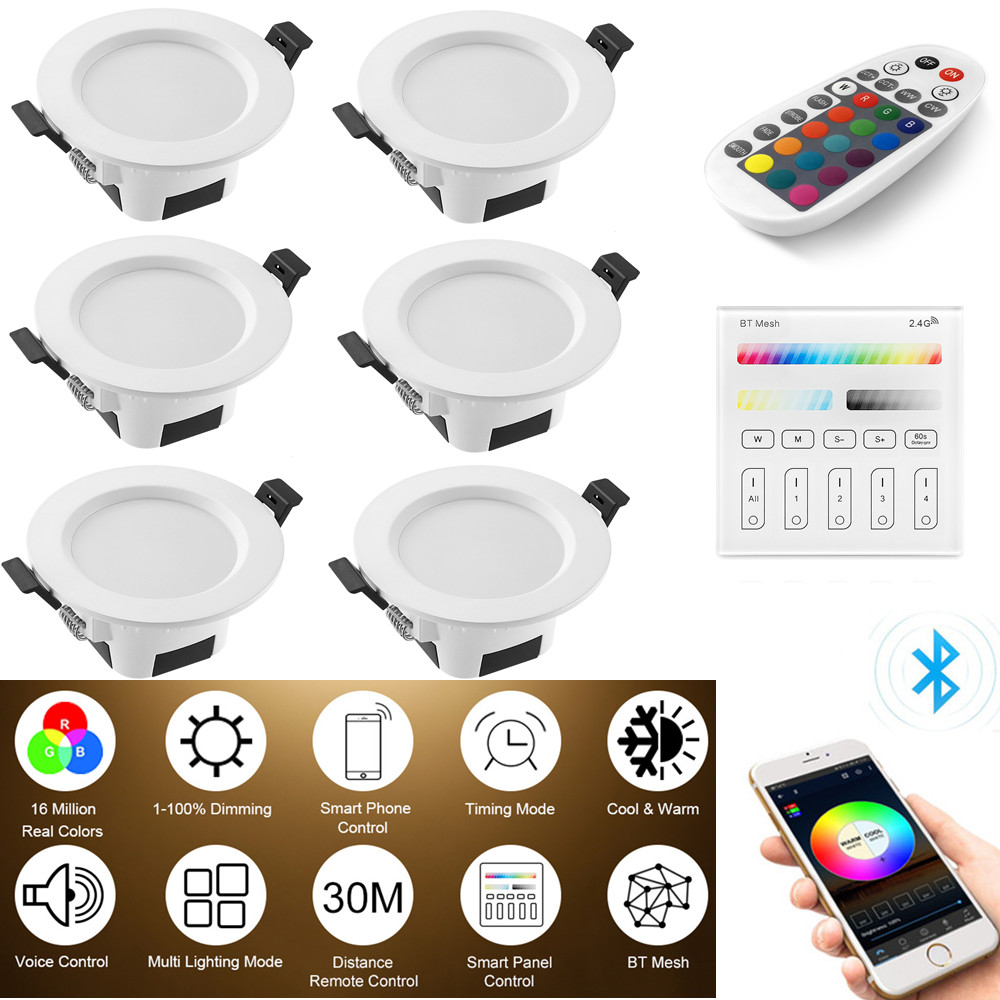 6X RGB Warm Cool White 3in1 LED Ceiling Lamp Panel Down Light WIFI/Bluetooth Mesh /Wall Touch /APP/Voice Controller Timer Dimmer
