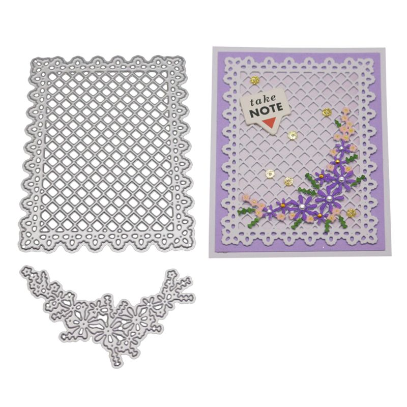 Flower and Lattice Metal Cutting Dies Stencil DIY Scrapbooking Album Stamp Paper Card Embossing Crafts Decor