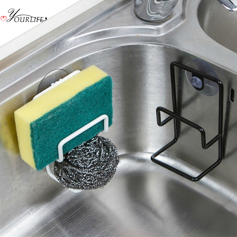 OYOURLIFE Double Layer Sink Sponge Holder Kitchen Soap Sponge Sundries Suction Cup Drain Rack Sink Accessories Organizer