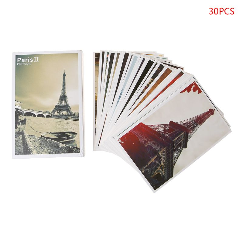 30 Sheets Eiffel Tower Paintings Retro Vintage Postcard Christmas Gift Card Wish Poster Cards