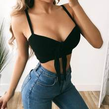 New Women Deep V Neck Bandage Flared Sleeve Crop Top Tie Front Top Blouse Shirt Sexy Party Beach Casual Boho Clothes(China)