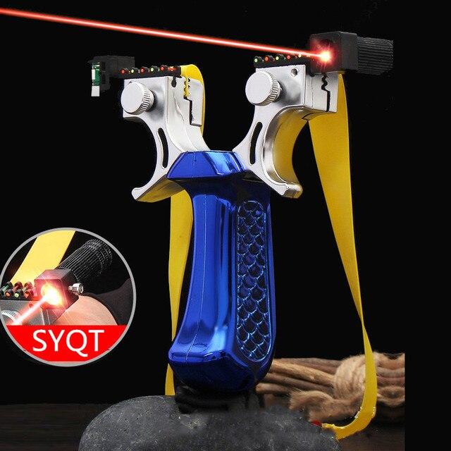 Новая Рогатка SYQT с лазерным прицеливанием, четыре цвета на выбор, Рогатка большой мощности для охоты, Рогатка с плоским кожаным ремешком