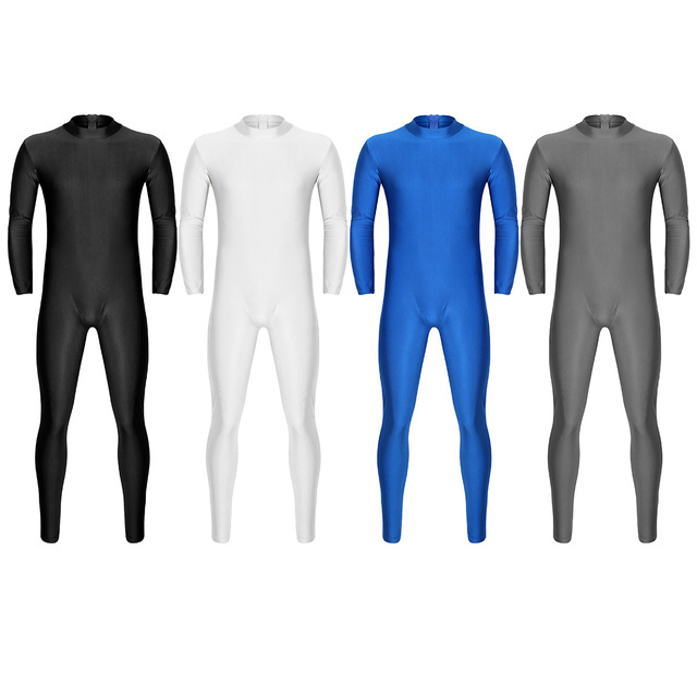 Mens Well Fit One Piece Leotards Long Sleeves Skinny Full-body Catsuit Adult Lycra Dancewear Bodysuit Gymnastics Workout Unitard 6
