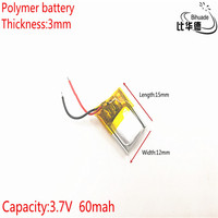 3.7V 60mAh 301215 Lithium Polymer Li-Po li ion Rechargeable Battery cells For Mp3 MP4 MP5 GPS mobile bluetooth