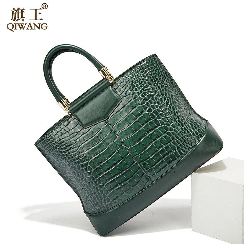 Bolso de mano grande de color verde Qiwang de lujo de diseñador de cuero Real para mujer bolsos de mano de hombro espacioso portátil 2019 bolsos de mano de mujer-in Cubos from Maletas y bolsas    1