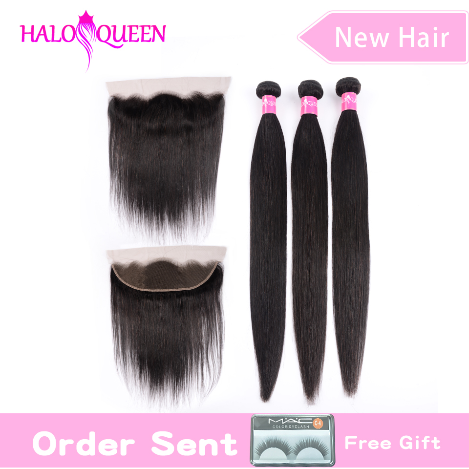 HALOQUEEN Straight Hair 3 Bundles With 13*4 Frontal Remy Malaysia Hair Bundles With Closure Human Hair Frontal With Bundles