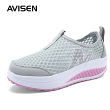 Summer Fashion Women Sneakers Platforms Breathable Hollow Mesh Casual Shoes Solid Color Slip-on Increase Ladies Sports Shoes casual mesh and solid color design sneakers for women