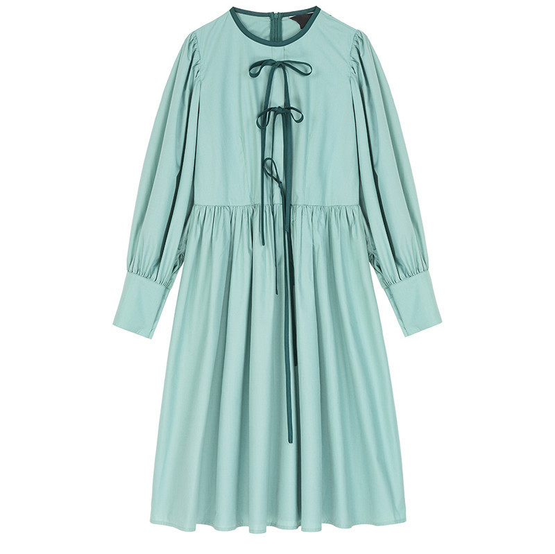 Women Green Bandage Bow Pleaed Temperament Dress New Round Neck Long Sleeve Loose Fit Fashion Spring Autumn 2020 V547