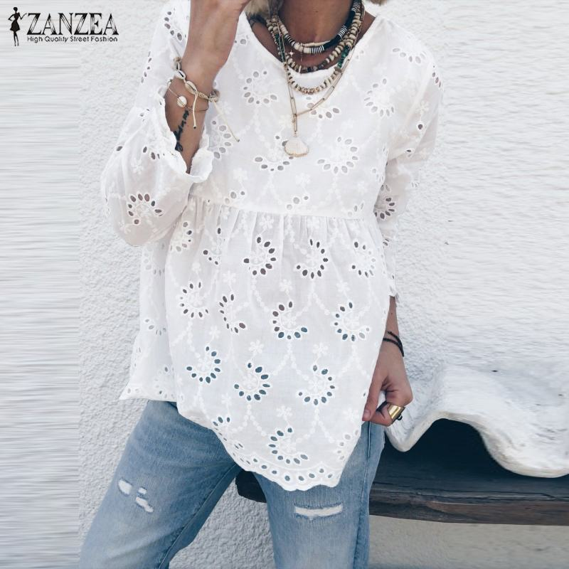 ZANZEA Tunic Tops Shirt Autumn Blouse Crochet Lace Long-Sleeve Party Female Hollow-Out title=
