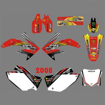 New Full Graphics Decals Stickers Custom Number Name Glossy Bright Stickers Waterproof for HONDA CRF450R CRF450 2008
