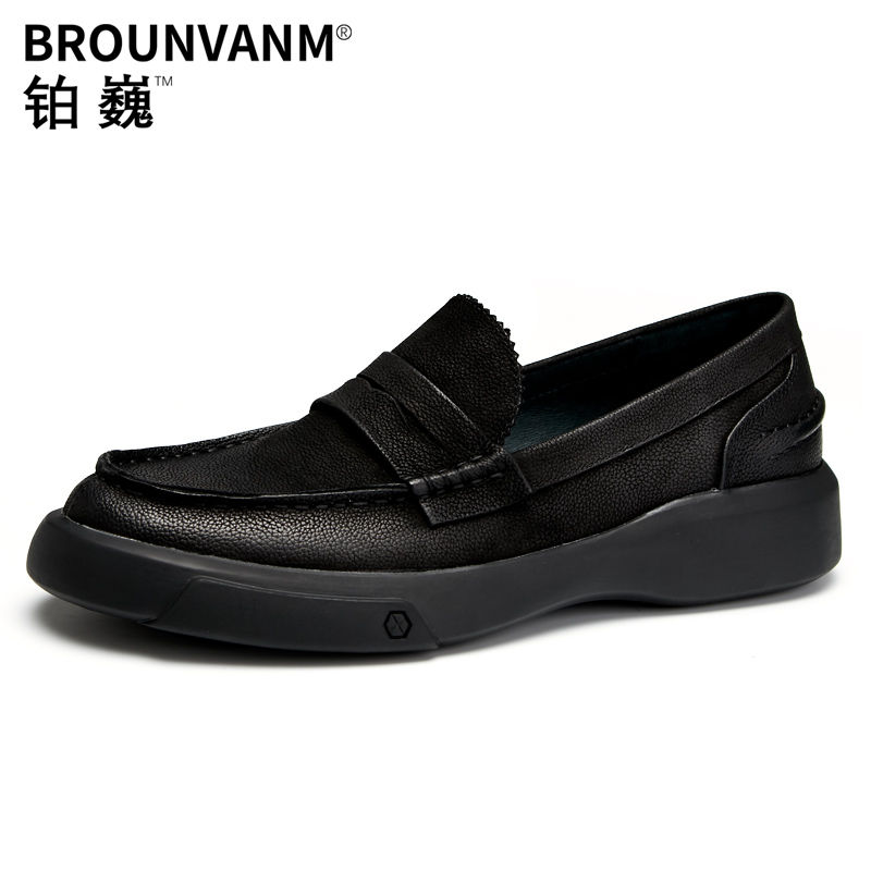 High Quality Genuine Leather mens shoes loafers breathable soft soled thick soled men shoes designer shoes men high quality
