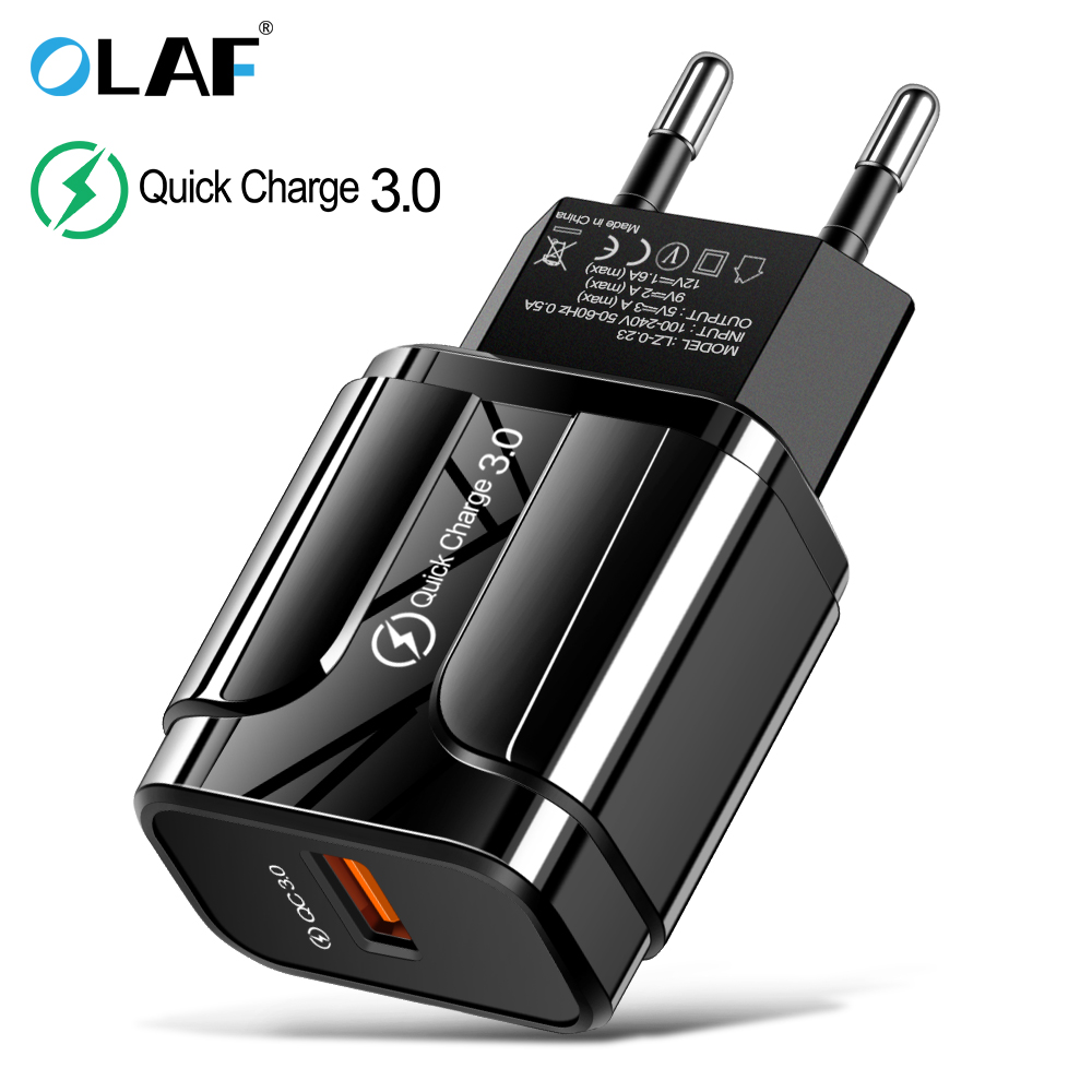3A Quick Charge 3.0 USB Charger EU Wall Mobile Phone Charger Adapter for iPhone X MAX 7 8 QC3.0 Fast Charging for Samsung Xiaomi