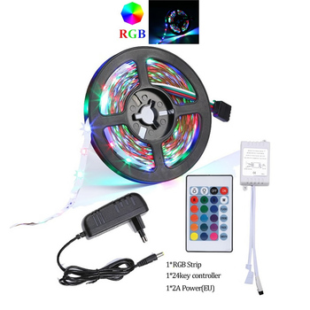 KARWEN RGB Led Strip Light 5M 300Leds 2835 SMD 2A Power Adapter Supply High Quality Tape Ribbon Home Decoration Lamp for party, image