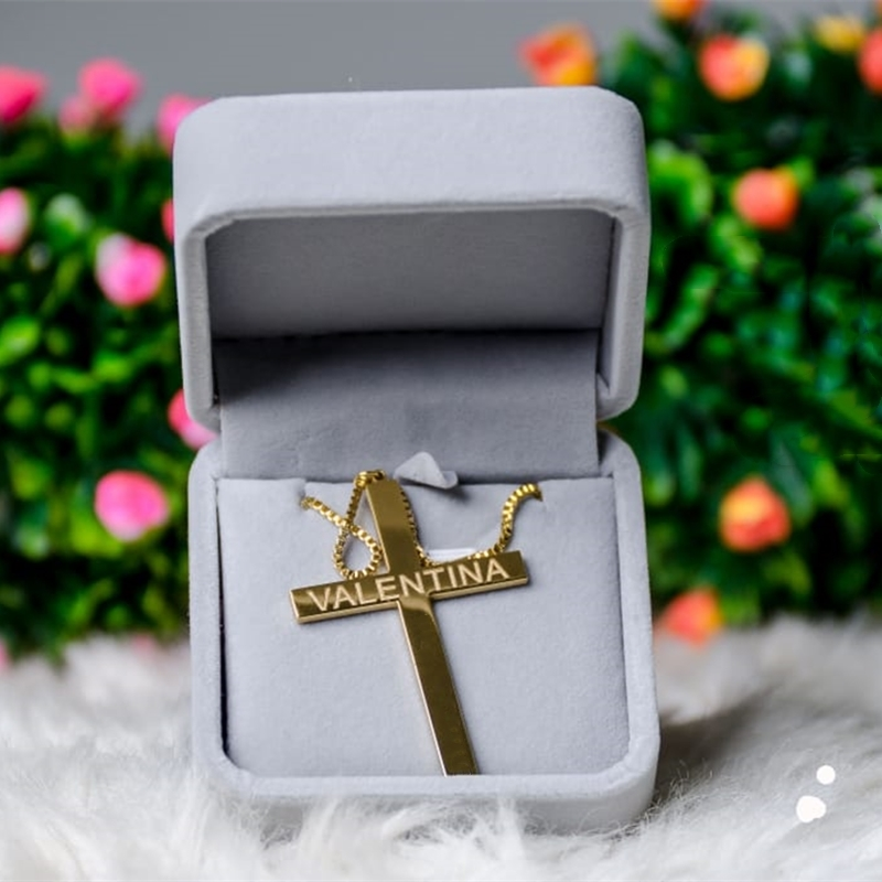 Custom Jesus Cross Nameplate Pendant Necklace Personalized Box Chain Christian Name Necklace Religious Jewelry Stainless Steel|Customized Necklaces| - AliExpress