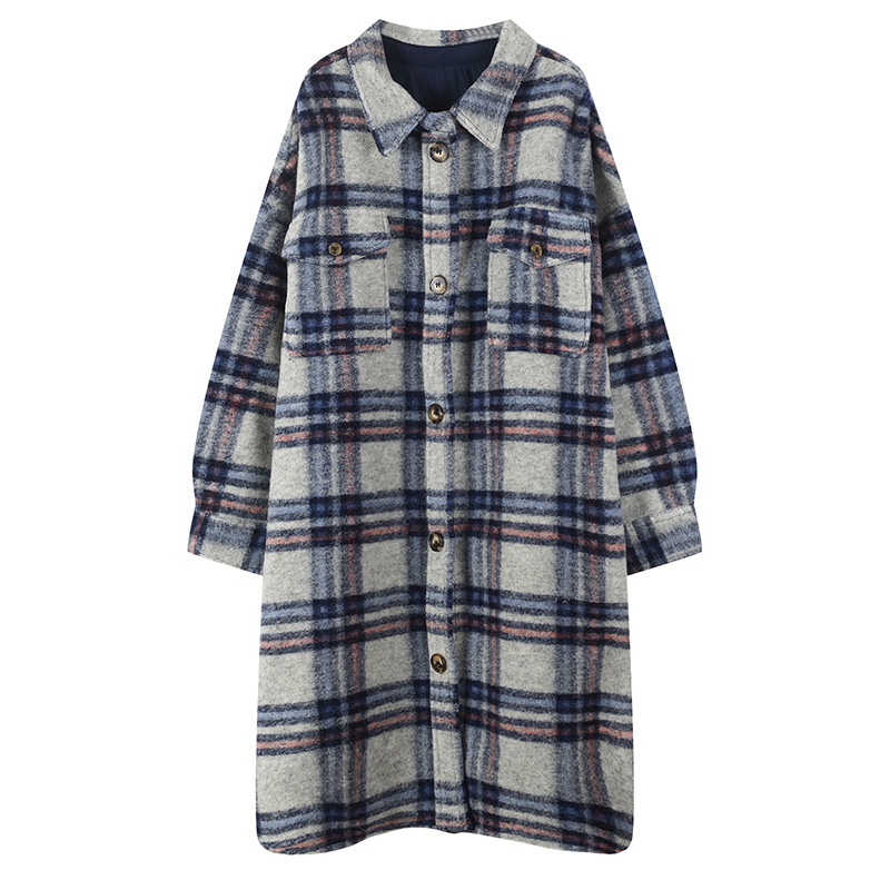19 Autumn And Winter Mixed Colors Pattern Coat WOMEN'S Dress-Style Retro Plaid Fold-down Collar Large Pocket Fashionable Mid-len
