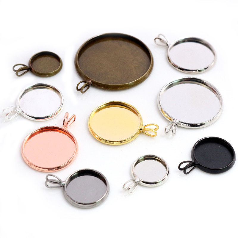 High Quality Copper Material 10-25mm Inner Size Rhodium Gold Silver Plated V Style Cabochon Base Cameo Setting Pendant Tray