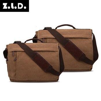 Mu Gu Canvas Bag Men Single Shoulder Bag Oblique Satchel Practical Business Computer Bag Large Size Can Put 17 Inch Computer