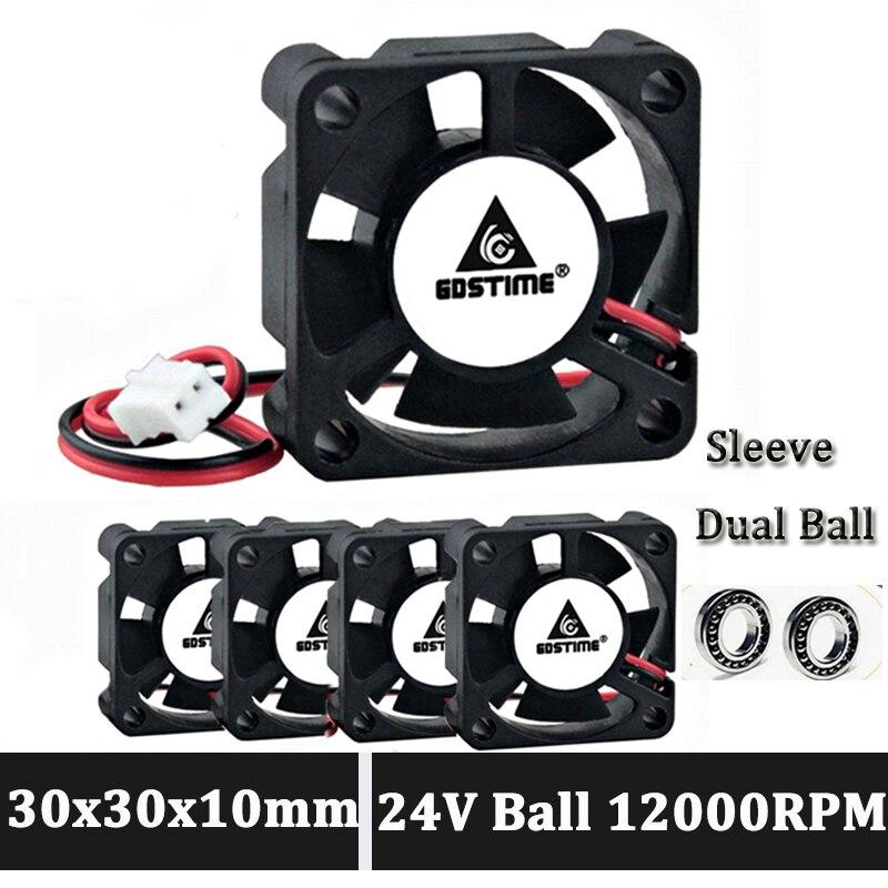 Gdstime 30 мм 24 в вентилятор 3010 2Pin шариковый подшипник 3 см 30x30x10 мм Мини DC Бесщеточный вентилятор охлаждения
