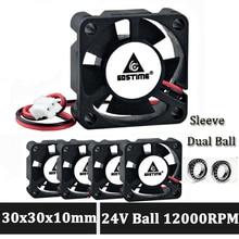 Gdstime 30mm 24V fan 3010 2Pin Ball Bearing 3CM 30x30x10mm Mini DC Brushless Cooling Fan 20pcs gdstime 3cm 30mm fan cooler 12v 30x30x10mm dupont 2 pin brushless dc cooling fan