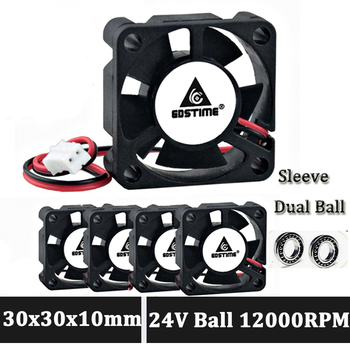 Gdstime 30mm 24V fan 3010 2Pin Ball Bearing 3CM 30x30x10mm Mini DC Brushless Cooling Fan 5pcs gdstime 2pin 12v 3010 30x30x10mm 30mm ball bearing small brushless dc cooler cooling fan