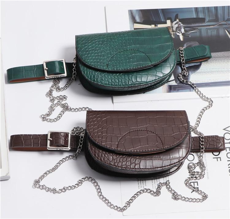 2019 Semicircular Alligator Pattern PU Leather Waist Belts Women Fanny Packs Phone Purse Saddle Bag Ladies Chain Messenger Bag