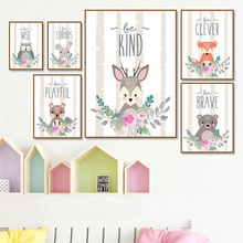 Cartoon Animals Fox Deer Rabbit Owl Wall Art Canvas Painting Print Nordic Posters And Prints Pictures For Kids Room