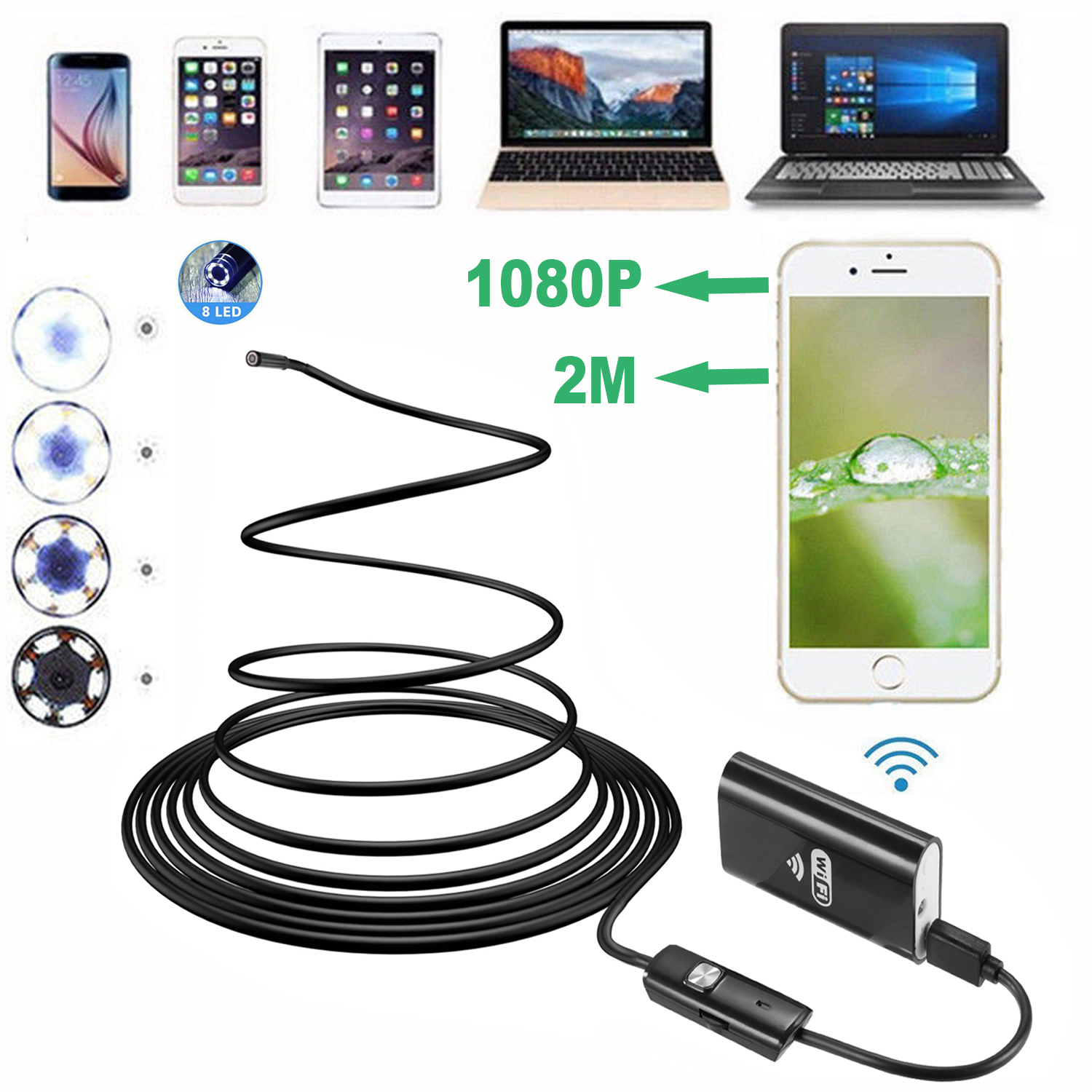 1080P WIFI Endoscope Camera 8mm HD Wireless Inspection Camera Endoscop 2M 3.5M 5M Flexible WIFI Endoscope Camera for Android IOS image