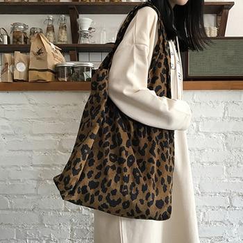 Corduroy Leopard Print Bag Ladies Shoulder Casual Tote Shopping Bag Large capacity Handbags Totes Women casual women s tote bag with leopard print and canvas design