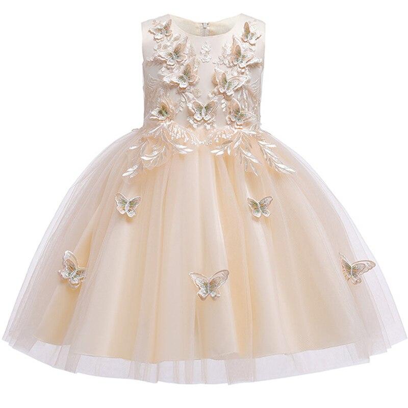 Новинка; платье принцессы для дня рождения, банкета, банкета, с бретельками; кружевное платье с цветочным узором для девочек на свадьбу; праздничное платье с рукавами; vestidos - Цвет: Champagne