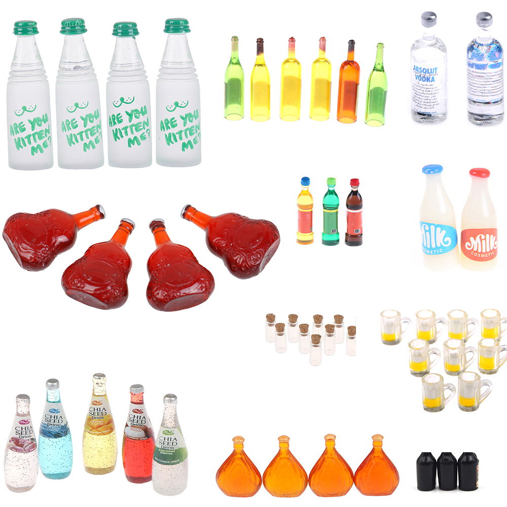 Mini Water Bottles Dollhouse Miniature Doll Food Kitchen Living Room Accessories Kids Gift Pretend Play Toys 1/2/3/4/5/6/10PCS