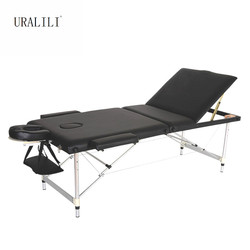 Massage Bed Portable Folding Three-fold Aluminum Alloy Beauty Body Tattoo Massage Therapy Bed 70CM Wideth