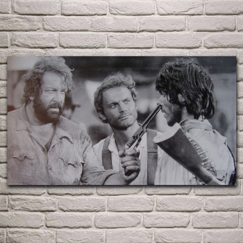 old movies artwork Terence Hill Bud Spencer living room decor home wall art decor wood frame fabric poster image