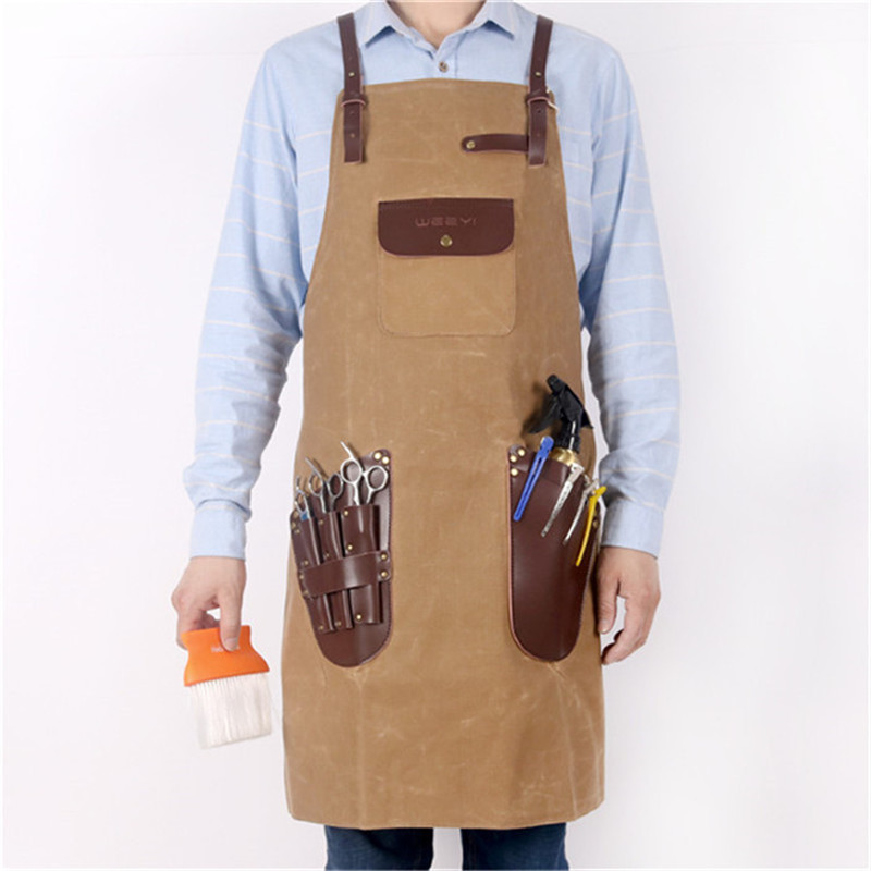 WEEYI Barber Apron Men Women Waxed Canvas Apron For Hairdresser Leather Pockets Unisex Vintage Salon Apron
