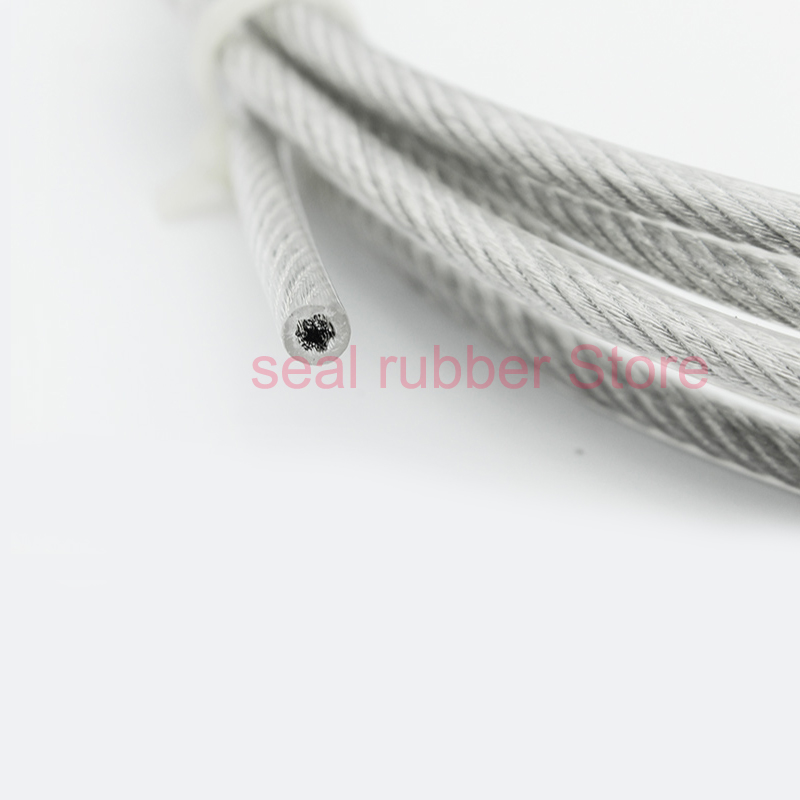 5 Meters PVC Coated Flexible Wire Rope Soft Cable Transparent Stainless Steel Clothesline Diameter 1mm 1.5mm 2mm 3mm 4mm 5mm 6mm