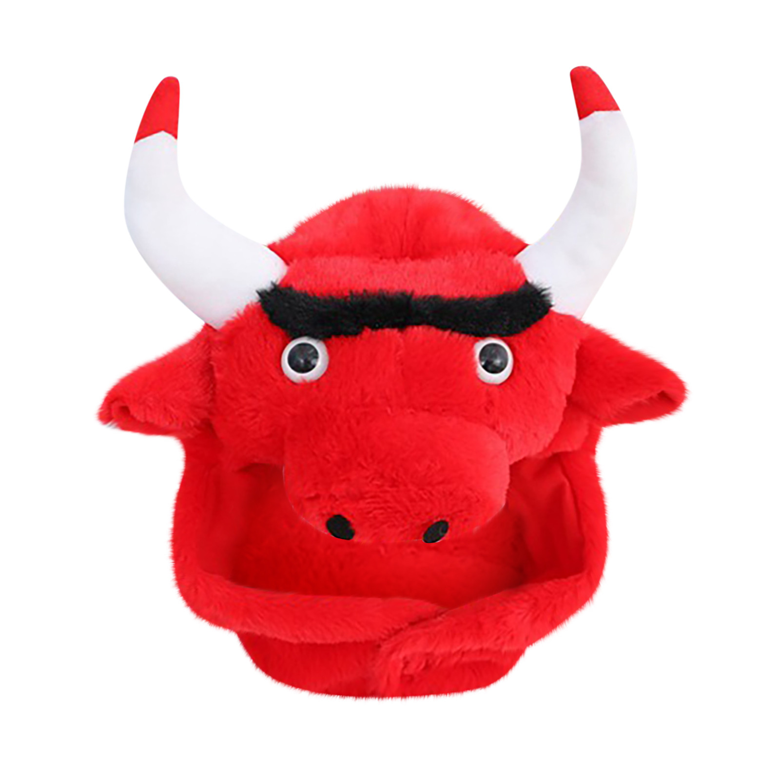 Novelty Red Cattle Bullfight Hat Adult Cartoon Funny Adorable Plush Bullfight Hat Cosplay Costume Dress Up Hat Headgear Hats