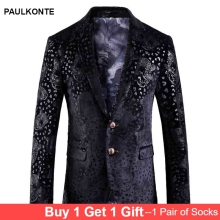 MenS New Slim British Style Fashion Temperament Casual Suit Jacket High Quality Luxury Trend Leopard Blazer