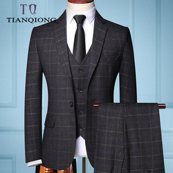 2019 мужские деловые костюмы из трех предметов, модный мужской бутик, клетчатый свадебный костюм (пиджак + жилет + брюки)