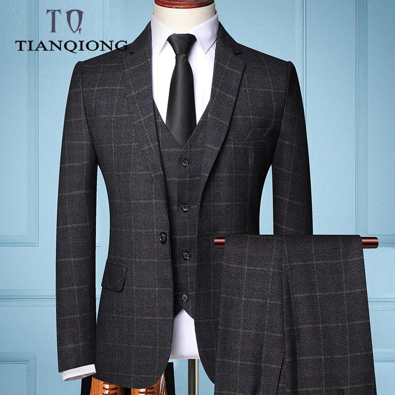 Мужской деловой костюм в клетку из трех предметов, Модный деловой костюм в клетку для свадьбы, пиджак + жилет + штаны, 2019