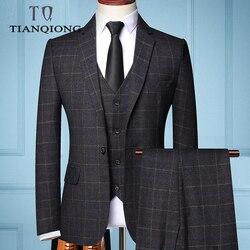 2019 juego de Plaids de negocios Formal de tres piezas para hombre de moda Boutique Plaid vestido de boda traje (chaqueta + chaleco + Pantalones)