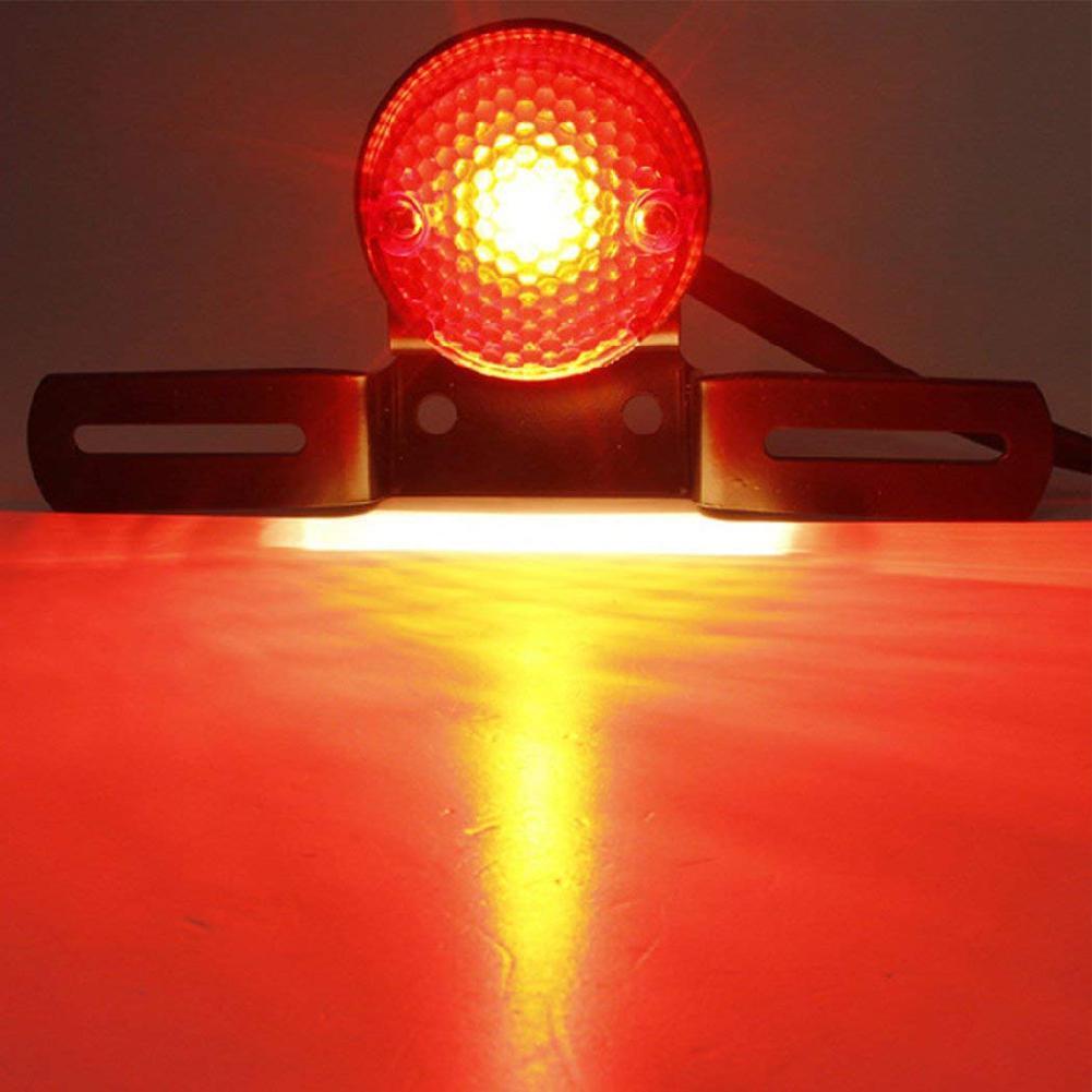 None Universal Motorcycle Brake Rear Tail LED Light License Plate Mount Holder Lamp