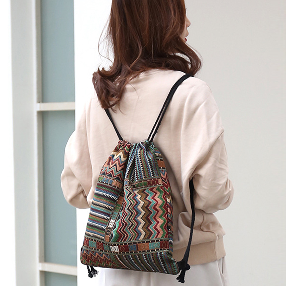Large Capacity Hided Pocket Practical Drawstring Backpack Knit Fabric Retro Style Geometrical Daily Casual Durable Foldable Sack