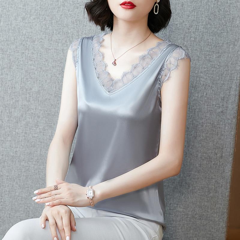 Корейские шелковые женские топы атласные кружевные майки для