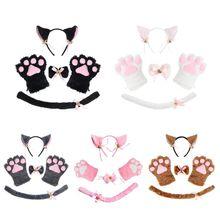 Headband Tail-Paws-Gloves Choker Lolita-Props Kitty Cosplay Costume-Set Collar Anime